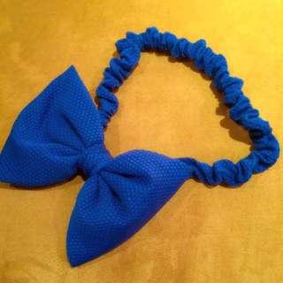 寶藍色 蝴蝶結 正韓髮帶