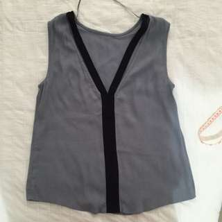 Size XS Zara Woman Grey+ Black Colourblock Special Top