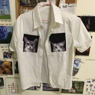 全新貓咪白襯衫