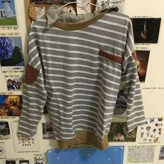 條紋棒球風棉衣