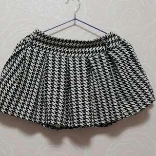 千鳥格百折褲裙