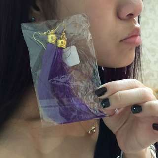 全新含運🎀紫色流蘇大耳環