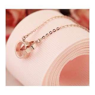 ✦✦ HandBox ❧  ✦✦ 精品款氣質雙環鋼式項鍊 【Golden Rose】女款 項鍊