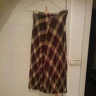 秋季百摺格子裙
