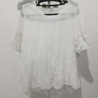 Baju Putih Renda - Lace White Top