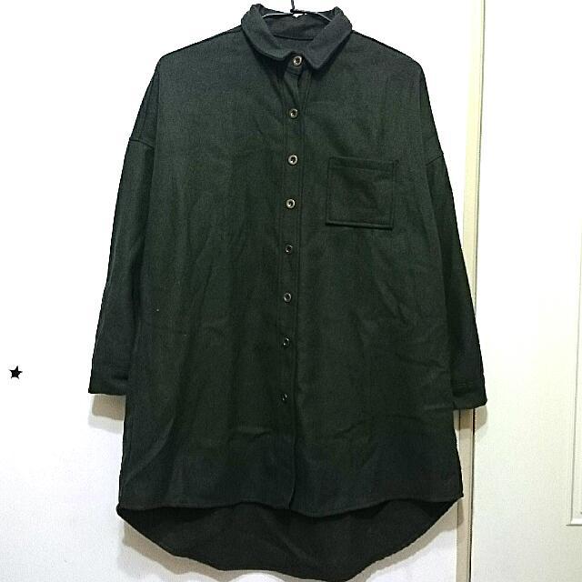 軍綠厚毛呢文藝長版襯衫(全新)