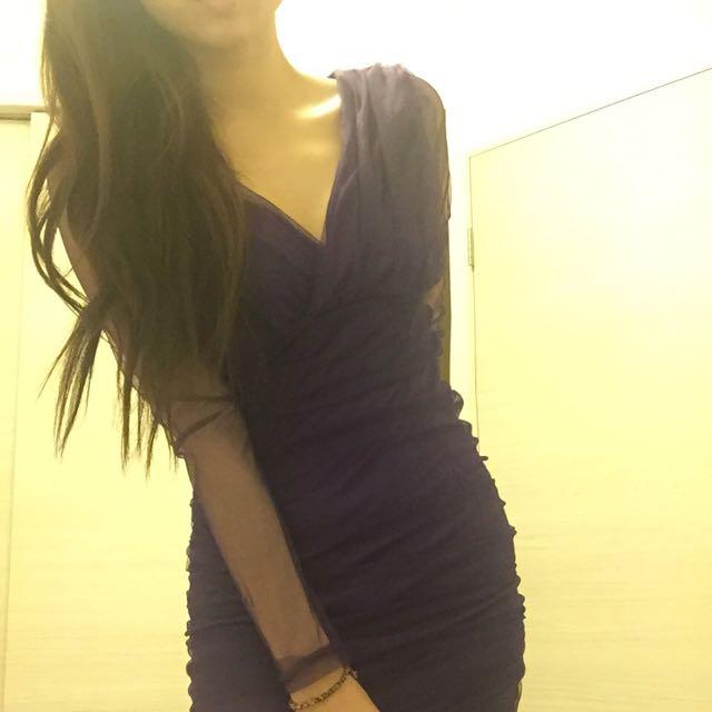 紫色雪紡紗洋裝👾