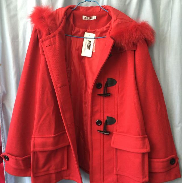 全新加大大紅色毛料牛角大衣