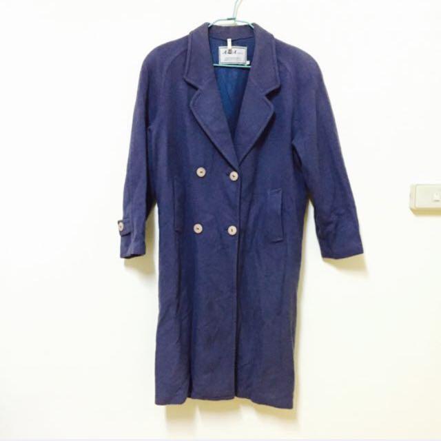 含運/古著灰藍色大衣