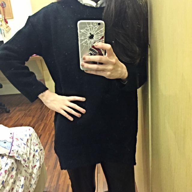 前短後長黑色針織毛衣