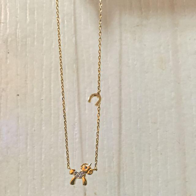 金色鎖骨鍊(馬&馬蹄鐵)