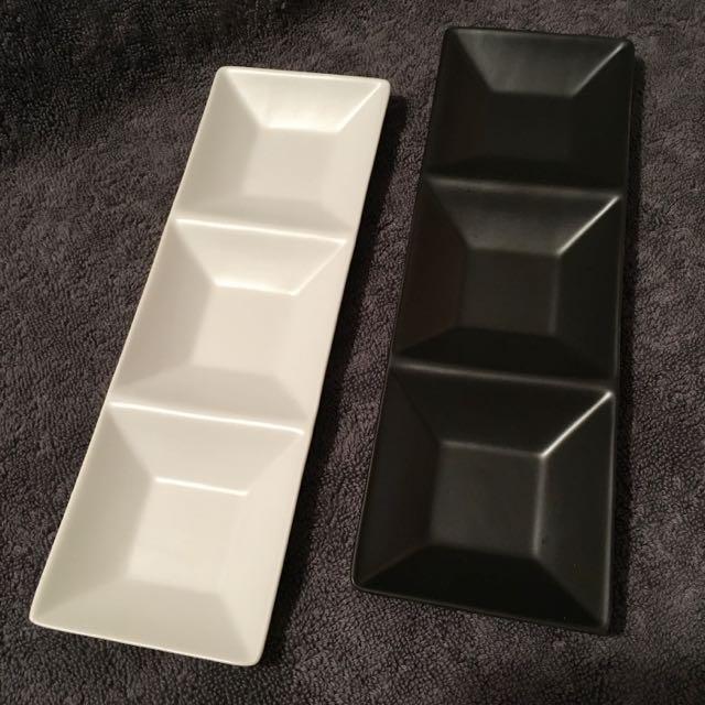 [全新]方格瓷盤二入
