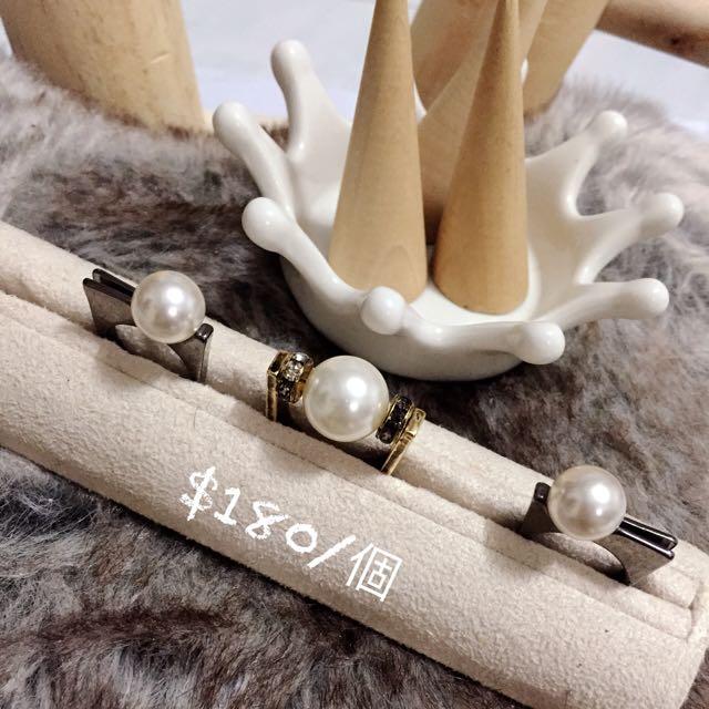 韓國飾品 珍珠立體戒指