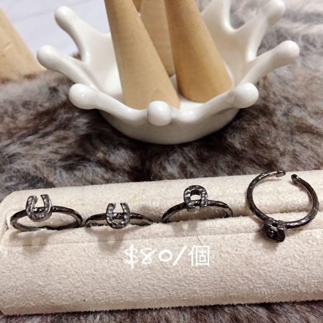 韓國飾品 馬蹄鎳黑戒指