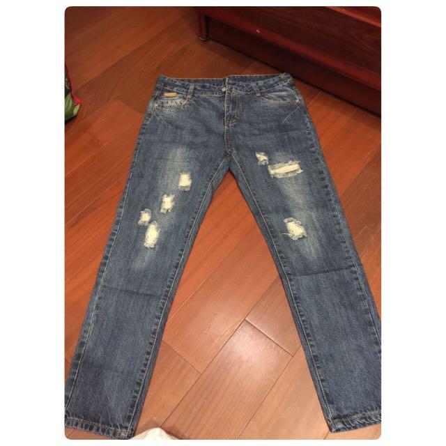 ajpeace 懷舊感 復古 刷破 牛仔褲 長褲