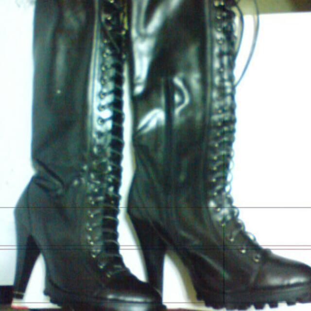 繫繩造型素面皮長靴 女靴 雨靴 長靴 極新二手