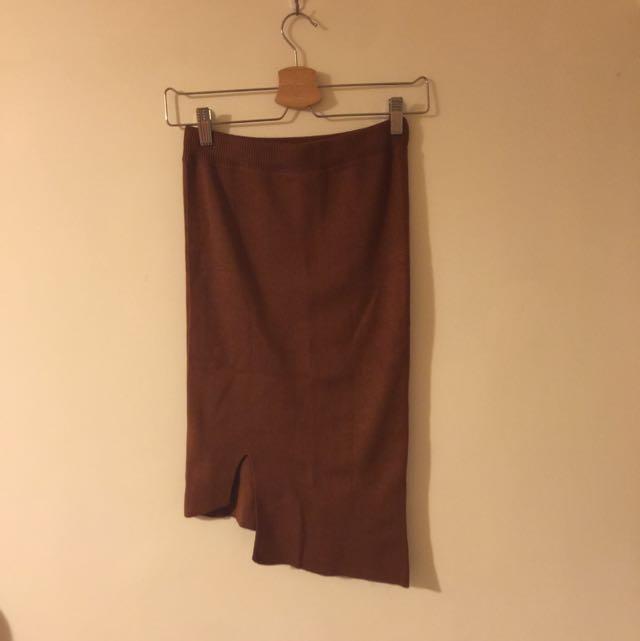 (全新)厚針織 駝色 包臀 不對稱 兩面穿 長裙