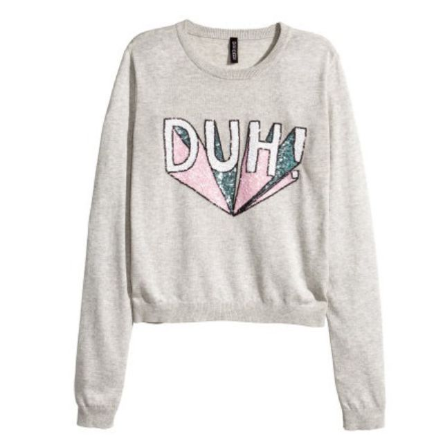日本帶回 H&M 亮片DUH! 長袖針織衫 M號 全新免運 原價800