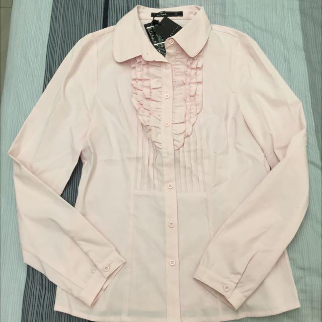 全新 專櫃Mastina 荷葉邊條紋襯衫S(OL、面試、社會新鮮人最愛❤️)