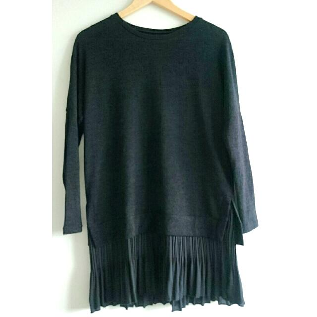 [BN] Plus Size Pleated Long Tee