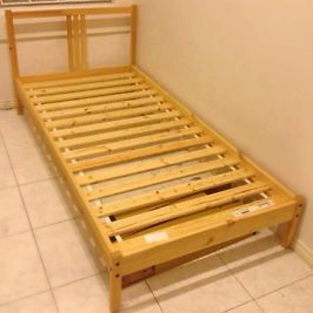 Ikea Fjellse Single Bed Frame With Slatted Bed Base Furniture On