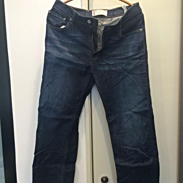 Levi's Signature 深藍刷色直筒牛仔褲 32腰