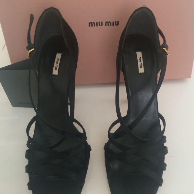 Miu Miu Black Satin Strap Heels Size 40