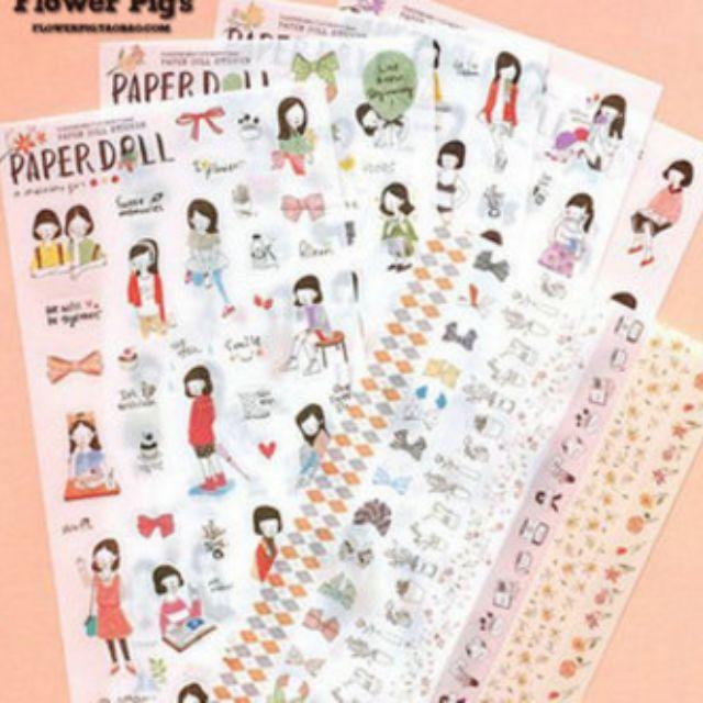 Paperdoll korean stickers (6 sheets)