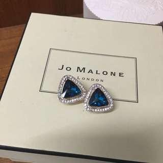 寶藍色貴氣耳針式耳環