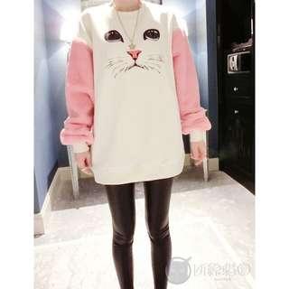 秋冬韓版貓臉拼粉色長袖棉T