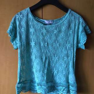 Teal Cotton On Lace Top