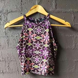 Boho Purple High Neck Top