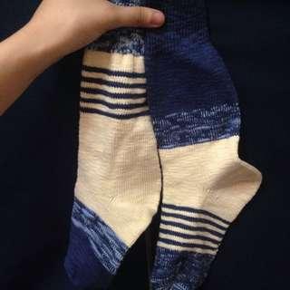 藍白條紋厚長襪