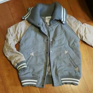 保暖皮革拼接棒球外套