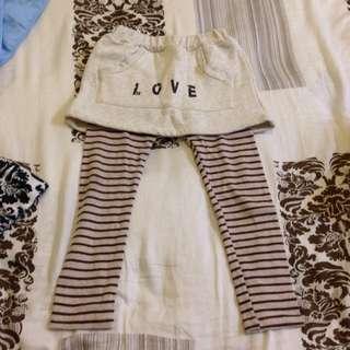 女童 米色條紋內搭厚/內刷毛褲裙 11號