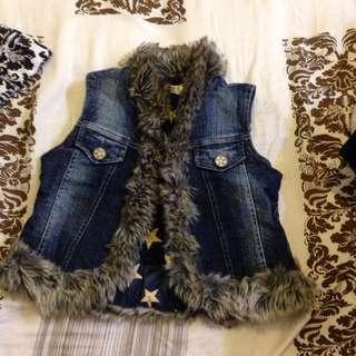 Mini-J專櫃女童 105-115cm毛毛牛仔鋪棉背心-厚.9.5新