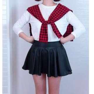 皮革短裙 全新