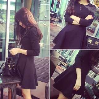 【👗預購1130】韓版小黑裙打底裙顯瘦蓬蓬連衣裙