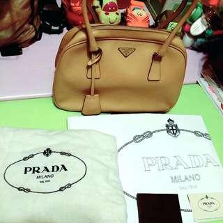 (真品)PRADA真皮黃色手提包