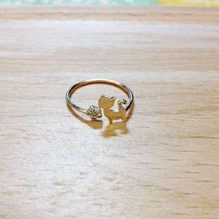 (含運)貓咪小花戒指 金色