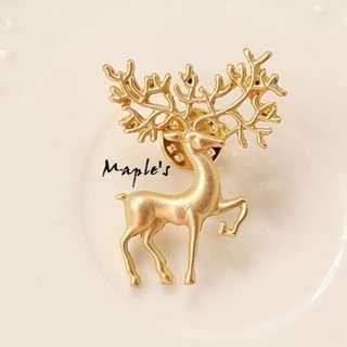 Maple's 日系磨砂金色森林女樹枝麋鹿角胸章胸針領針別針