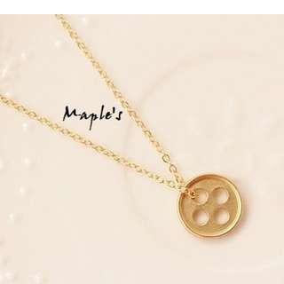 Maple's 韓劇皮諾丘 朴信惠同款金色幸運鈕扣項鍊鎖骨鏈