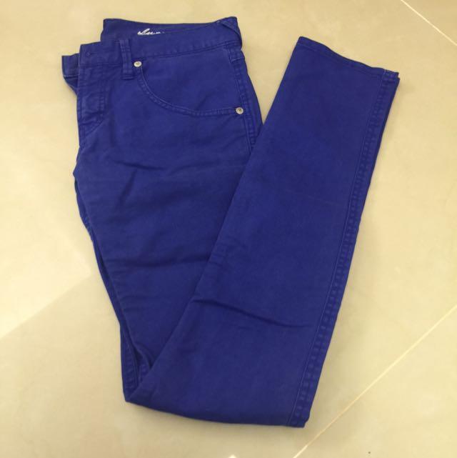 日系品牌 LOWRYS FARM顯瘦寶藍色長褲👖
