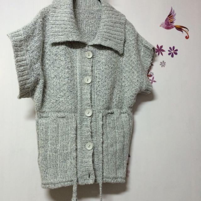 毛衣/有領/灰白色/有腰身