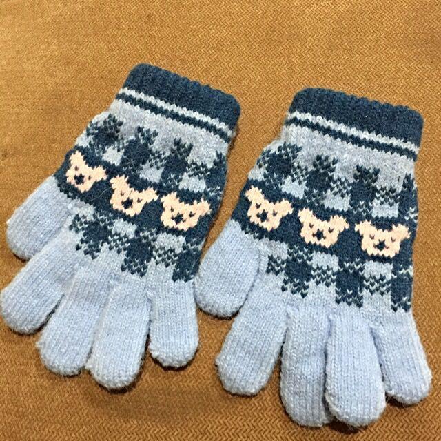 水藍色毛線手套