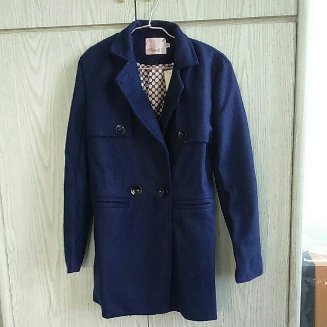 (全新✨)深藍毛呢大衣