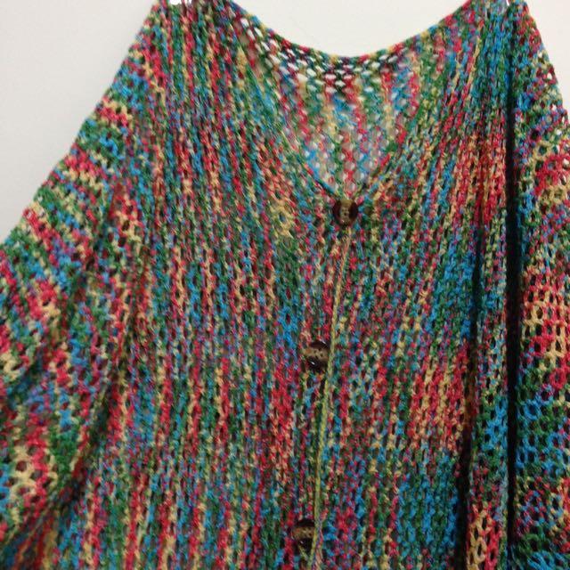 彩色針織罩衫外套
