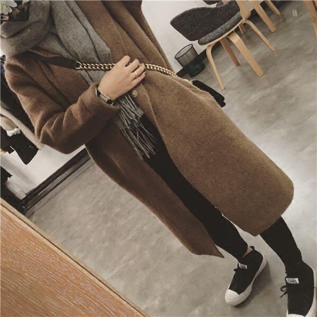韓製深駝色大衣