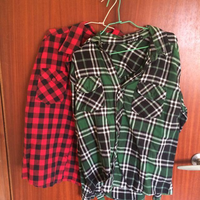 紅,綠 格子襯衫