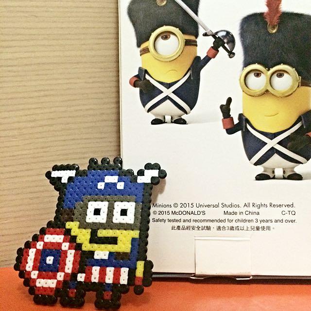 美國隊長 小小兵 拼豆 吊飾 / 鑰匙圈 聖誕節 交換禮物